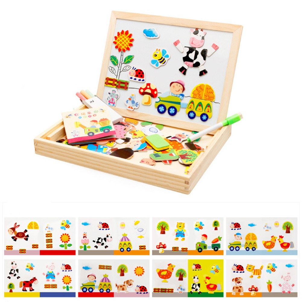Refaxi Wooden Toy Drawing Writing Board Magnetic Puzzle Double Easel Sketchpad Blackboard Gift for Kids