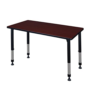 "Kee 42"" x 24"" Height Adjustable Classroom Table - Mahogany: Kitchen & Dining"