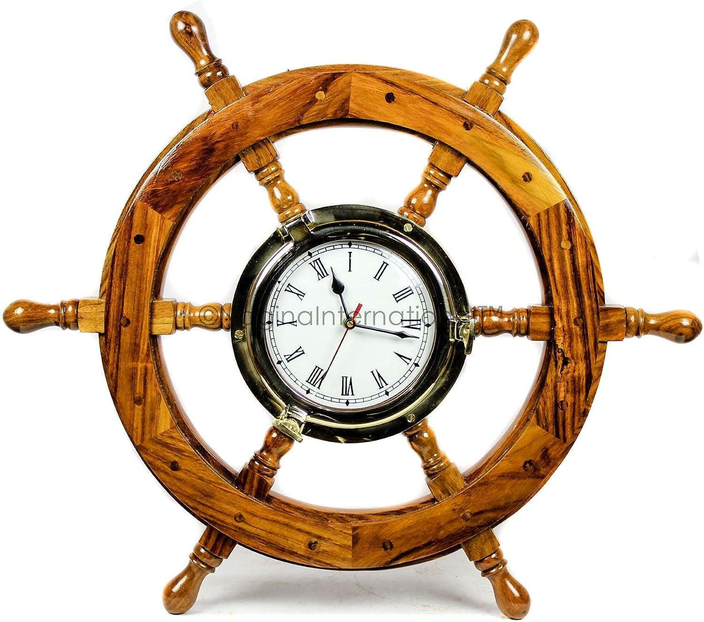 Nagina International Glorious Nautical Ship Wheel with Brass Polished Porthole Accentuated Time's Clock Mounted | Bay Home Decor Gifts