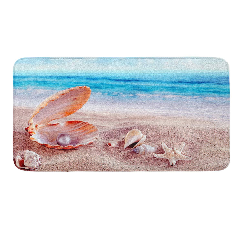 CIGOCI Anti-Slip Memory Foam Bath Mat - 18 x 36 Inch, Extra Absorbent,Soft,Duarable and Quick-Dry Shaggy Mat, 3D PrintStarfish Conch Seashell Pearl