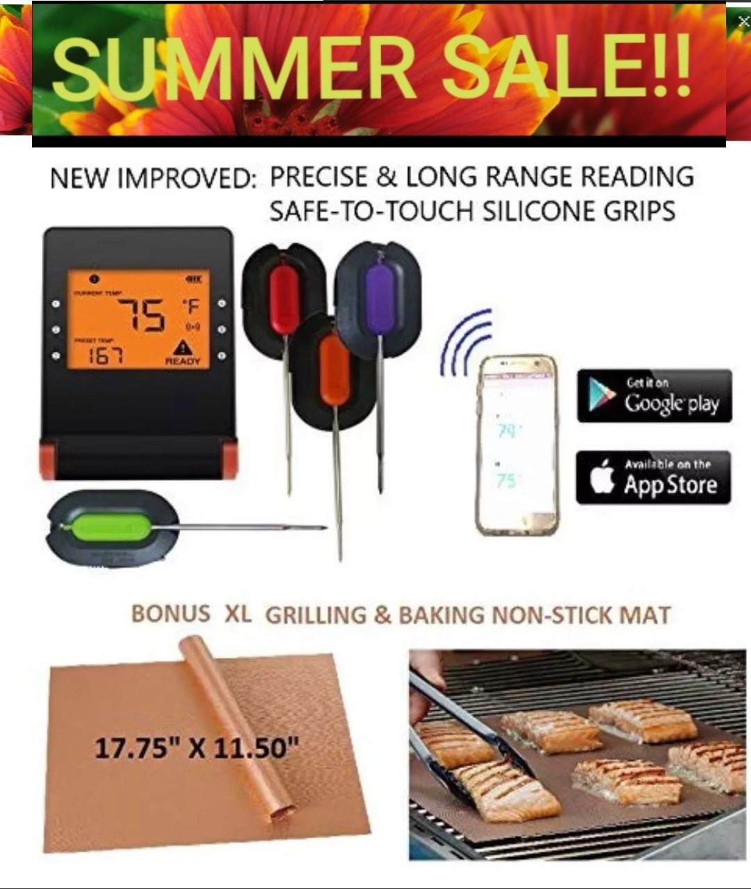 WIRELESS MEAT THERMOMETER + FREE XL NON-STICK COPPER MAT for BBQ, Grill, Bake & Smoke. Bluetooth/Phone digital LCD display Silicone FDA Probes, IMPROVED MODEL for Cooking, Grilling, Baking & Smoking by NOBILIS PRO