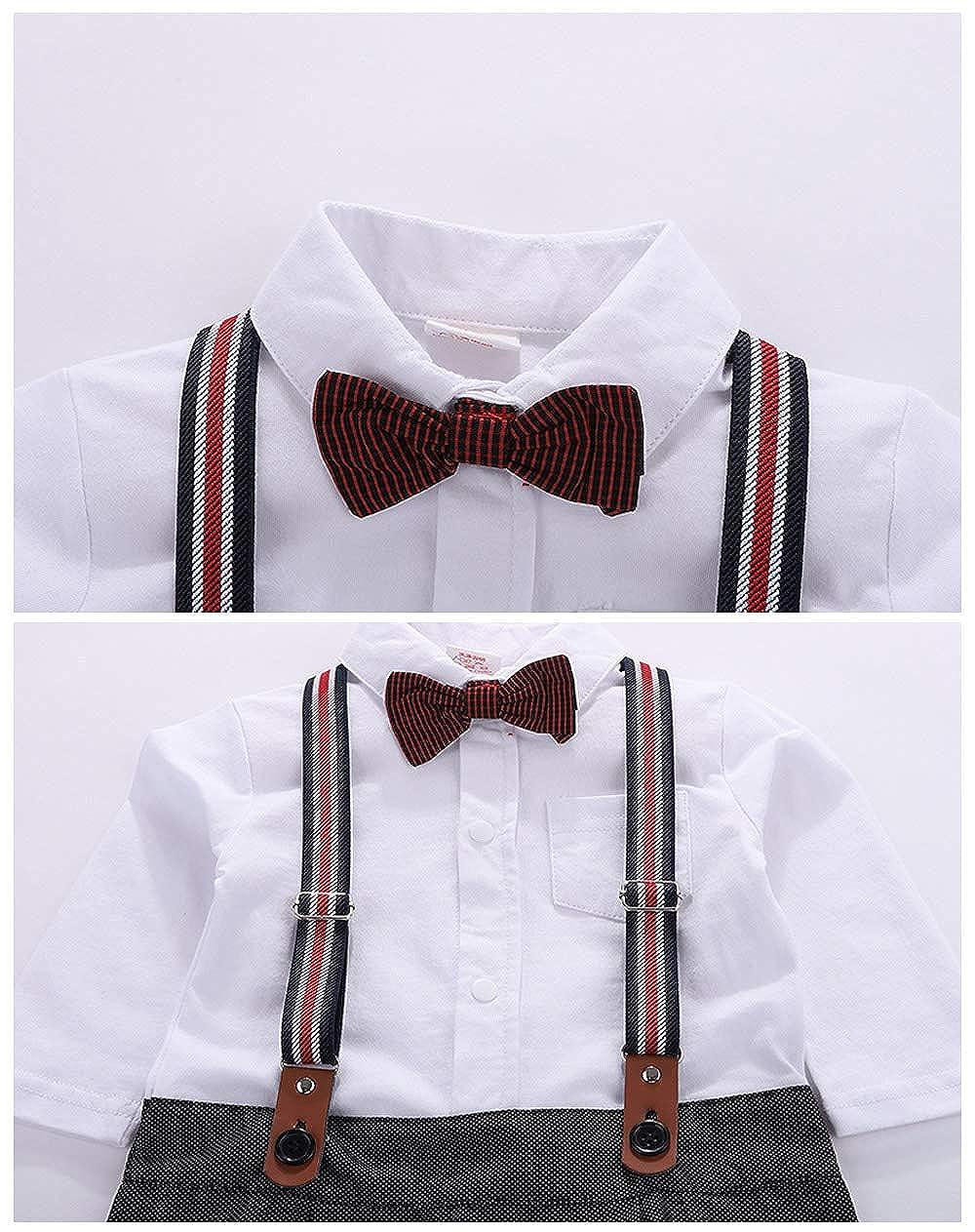 Pantalon Carreaux Noir Coton Gentleman Bapt/ême Mariage Quotidien /Âge 3-18 Mois Bretelles Boutons cool elves 3 PCs V/êtements Suite B/éb/és Gar/çons Costume Bavette T-Shirt Noeud Papillon Rayure
