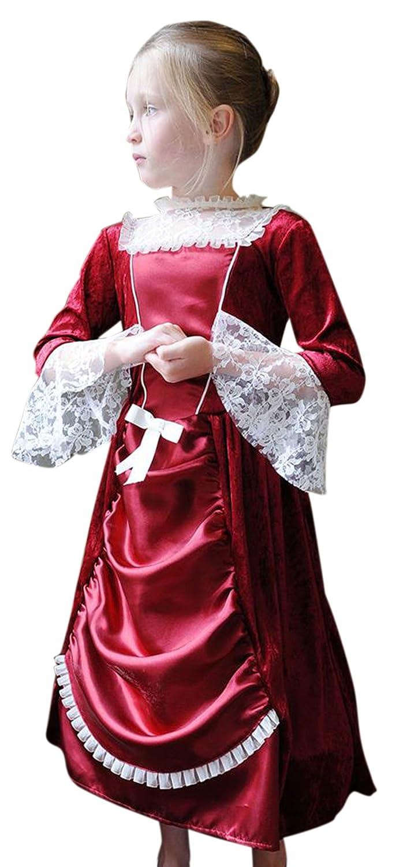 Zauberclown Mädchen Karneval Komplett Kostüm Miss Isabella, Bordeaux, Größe 116-128, 6-8 Jahre