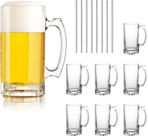 Beer Mugs Set,Glass Mugs With Handle 16oz,Large Beer Glasses For Freezer,Beer Cups Drinking Glasses 500ml,Pub Drinking Mugs Stein Water Cups For Bar,Alcohol,Beverages Set of 8 KTZB02…