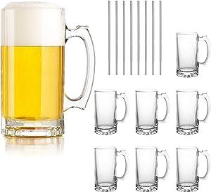 Beer Mugs Set,Glass Mugs With Handle 16oz,Large Beer Glasses For Freezer,Beer Cups Drinking Glasses 500ml,Pub Drinking Mugs Stein Water Cups For Bar,Alcohol,Beverages Set of 8 KTZB02…