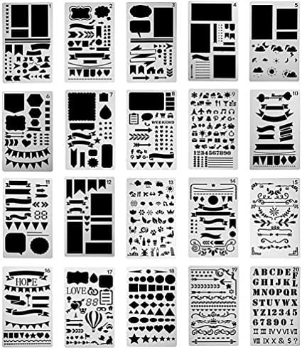 Scrapbooking Shapes; Adult Coloring Books Bible Journaling Planer Diary Numbers Greeting Cards Alphabet 3 Template Stencil Letters