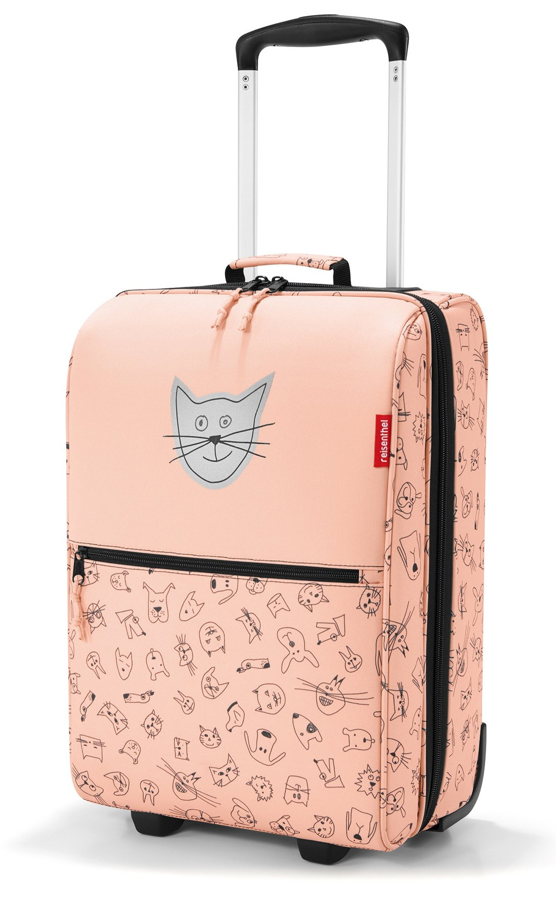 reisenthel Trolley XS Kids Luggage, Lightweight Compact Roller Bag, Cats and Dogs Rose