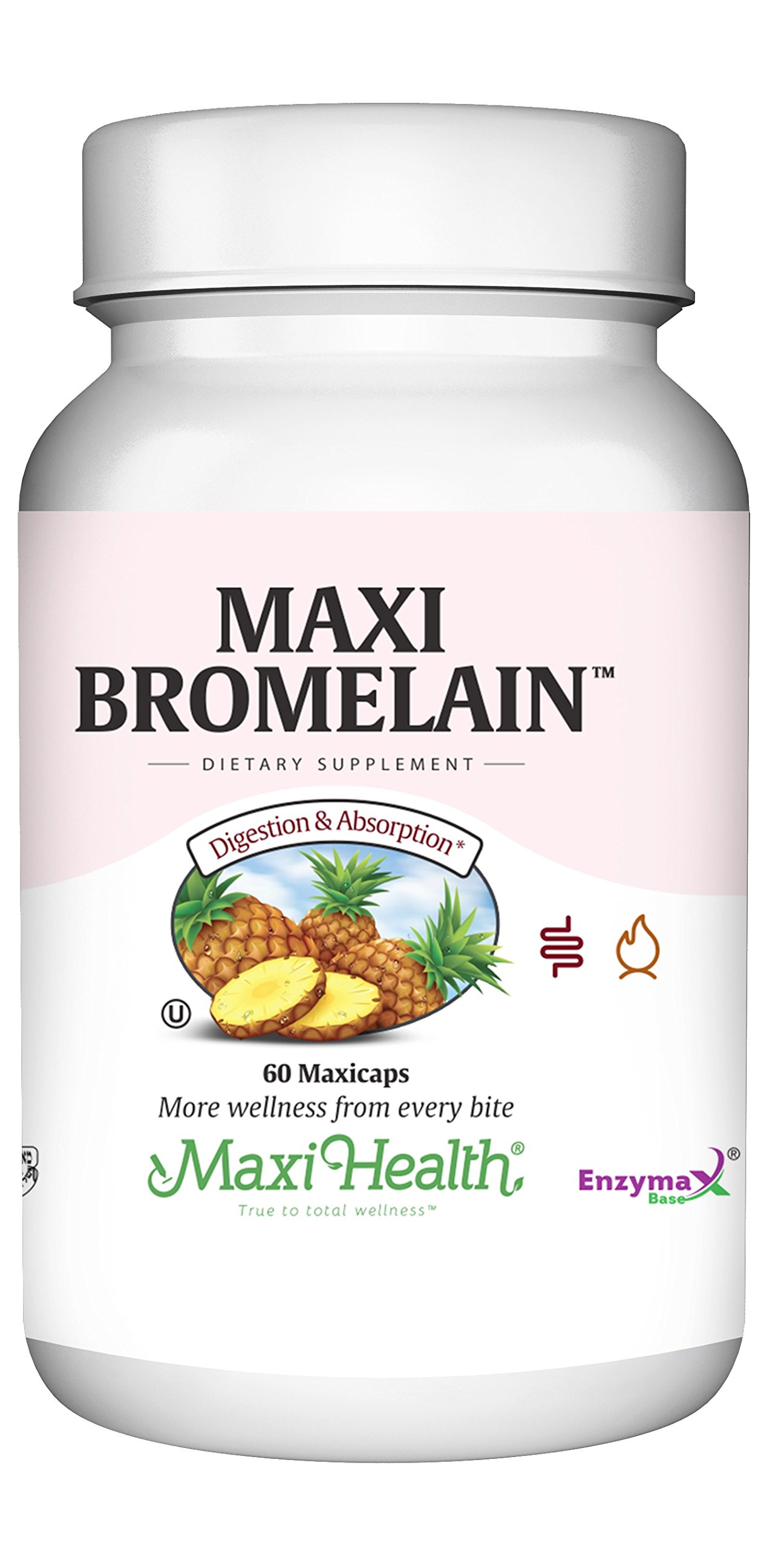 Maxi Bromelain Digestive Support Capsules, Kosher, 60 Count