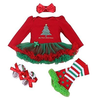 Feoya Juego De 4 Falda Bebes Tutu Ninas Vestido Traje De Navidad