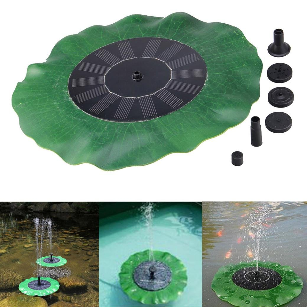 Vanvler Solar Fountain Pump | Bird Bath Fountain 1.4W Free Standing Outdoor Watering Submersible Pump for Pond, Garden and Patio (Black) by Vanvler