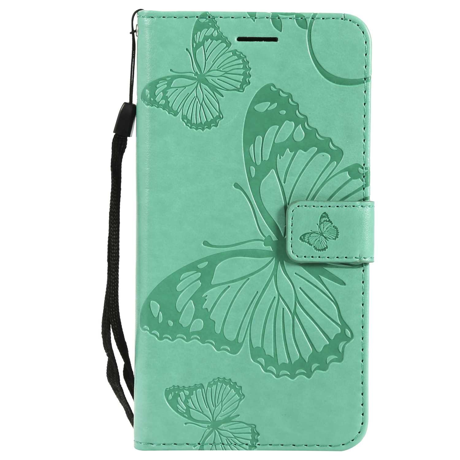CUSKING Case for Samsung Galaxy J7 2016, Leather Flip Cover Magnetic Wallet Case with Butterfly Embossed Design, Case with Card Holders and Kickstand - Green