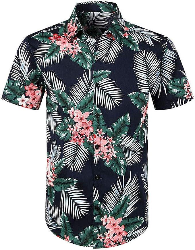 Camicia Hawaiana da UomoTTMallHawaiana da Uomo e Costume da Bagno Camicie Uomo Maglia A Maniche Corta Stampa Floreale Top A Maniche Corte Estive Tee Top Uomo Camicia