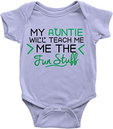 Auntie Will Teach The Fun Stuff Babygrow Funny Gift From Aunt Body Suit New Baby