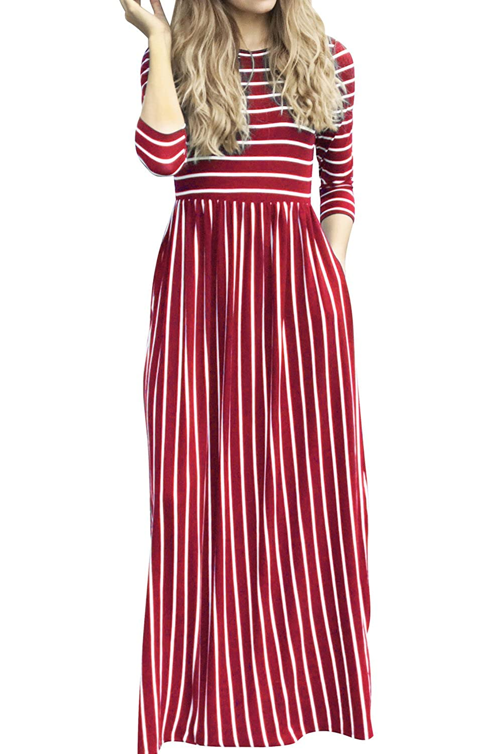 44a589138c17 Allfennler Women s 3 4 Sleeve Casual Loose Striped Dress with Pockets Floor  Length Elastic Waist Dress at Amazon Women s Clothing store