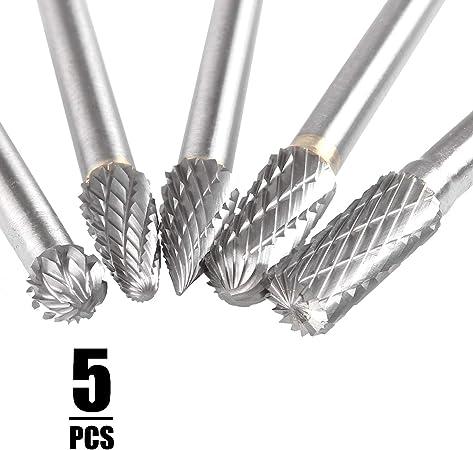 "5 Pc Cylindrical Cut Tungsten Carbide Burr Bur Cutting Tool Die Grinder Bit 1//4/"""