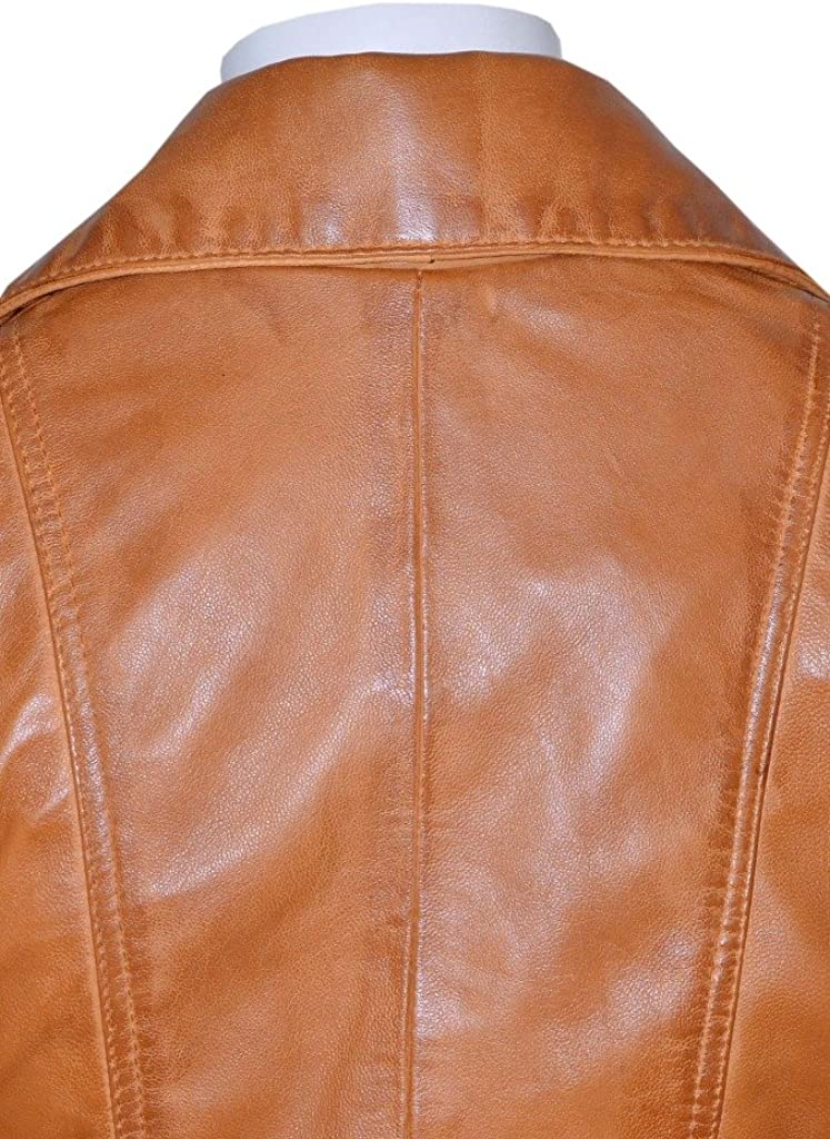 Smart Range Womens Feminine Washed Retro Vintage Biker Real Leather Jacket 2812