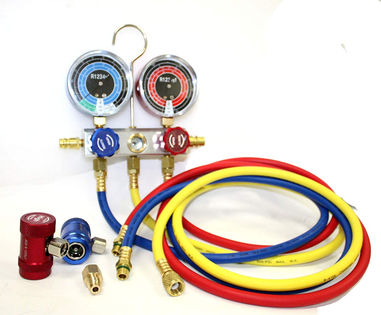 9TRADING R1234yf Manifold Gauge Refrigerant System Automotive A/C Service Diagnostic Kit