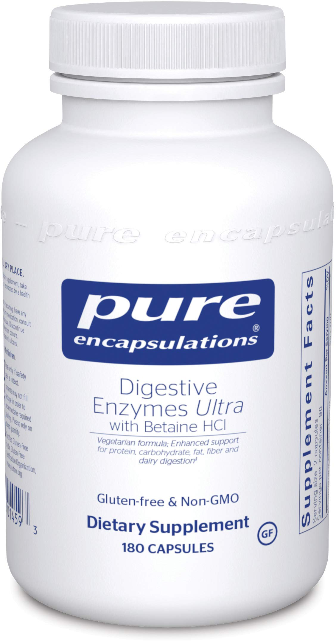 Pure Encapsulations - Digestive Enzymes Ultra with Betaine HCl - Comprehensive Blend of Digestive Enzymes with Betaine HCl - 180 Capsules