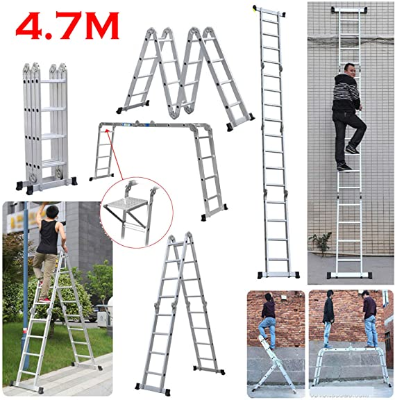 Escalera telescópica de aluminio multifunción de 4,7 m con 1 bandeja de herramientas, escalera plegable de grado comercial, 150 kg de capacidad de carga: Amazon.es: Bricolaje y herramientas