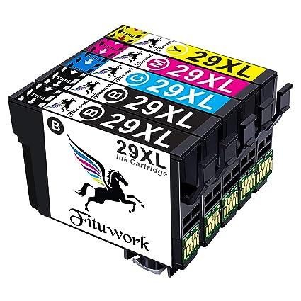 Fituwork 5PK (1Set + 1B) Cartuchos de tinta compatibles para Epson 29 XL 29XL Uso en Epson Expression Inicio XP-235 XP-332 XP-335 XP-432 XP-245 XP-247 ...