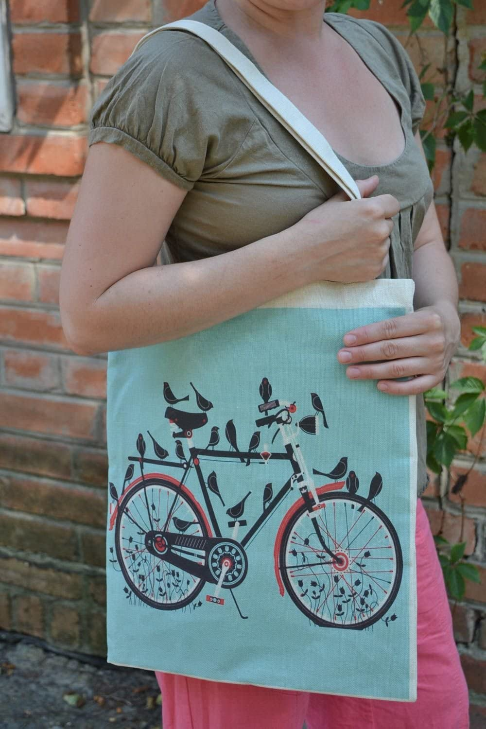 Handmade designer fabric women s bag with two handles and image of bicycle