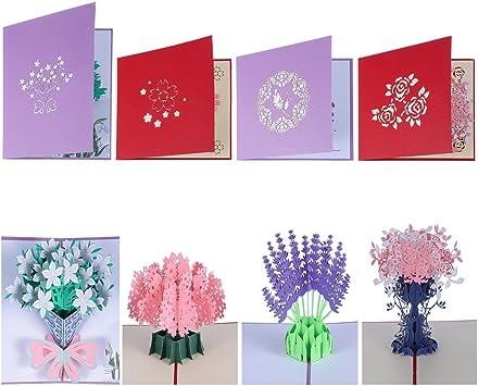 Amazon.com: antner 4 pcs flores POP UP Tarjetas 3d ramo ...