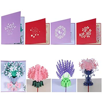 Amazon.com: antner 4 pcs flores POP UP Tarjetas 3d ramo ...