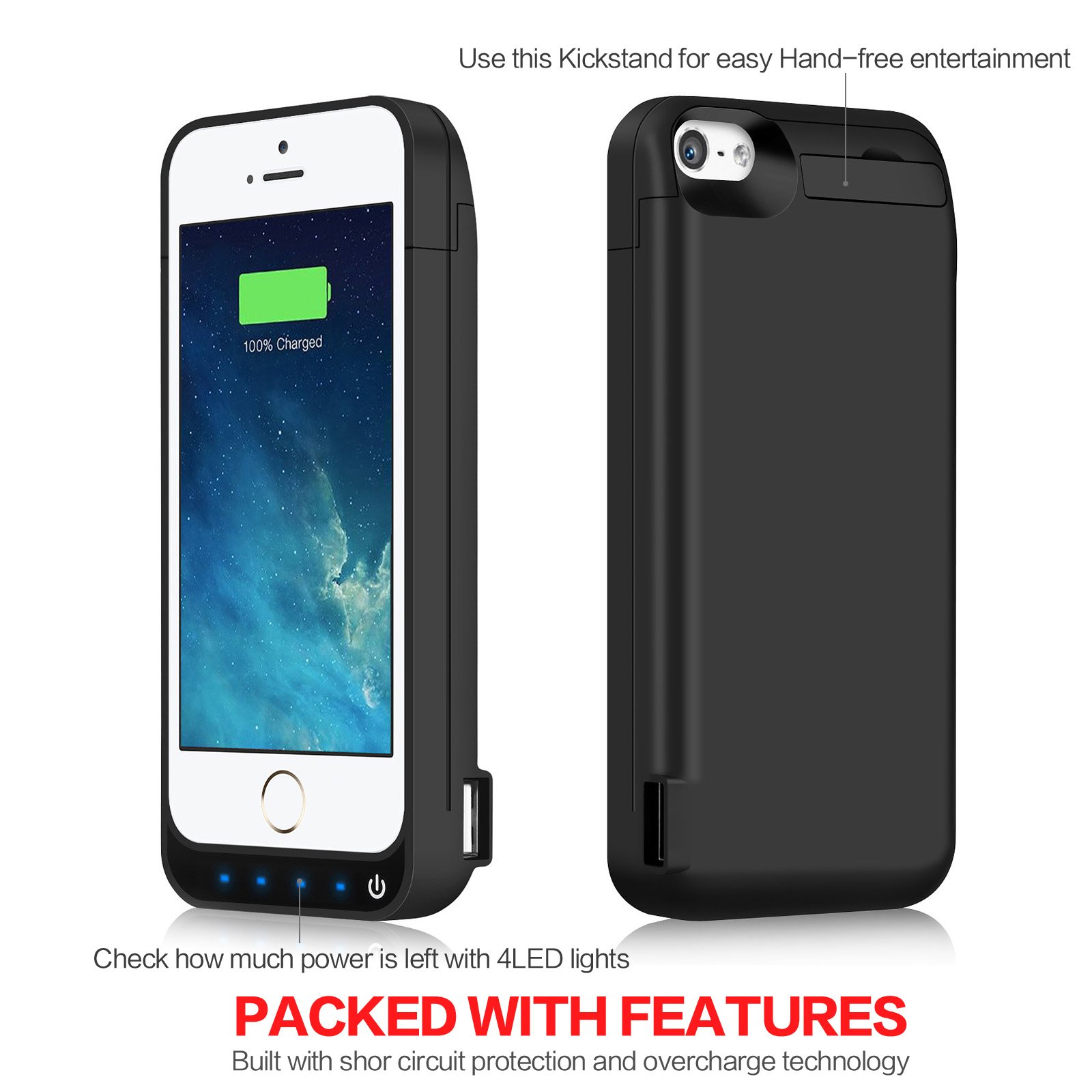 iPhone 5/5S/5C/SE Battery Case iPosible 4500mAh External Rechargeable Charger Case for iPhone 5/5S/5C/SE Charging Case Power Bank Battery Pack [24 Month Warranty] by iPosible (Image #4)