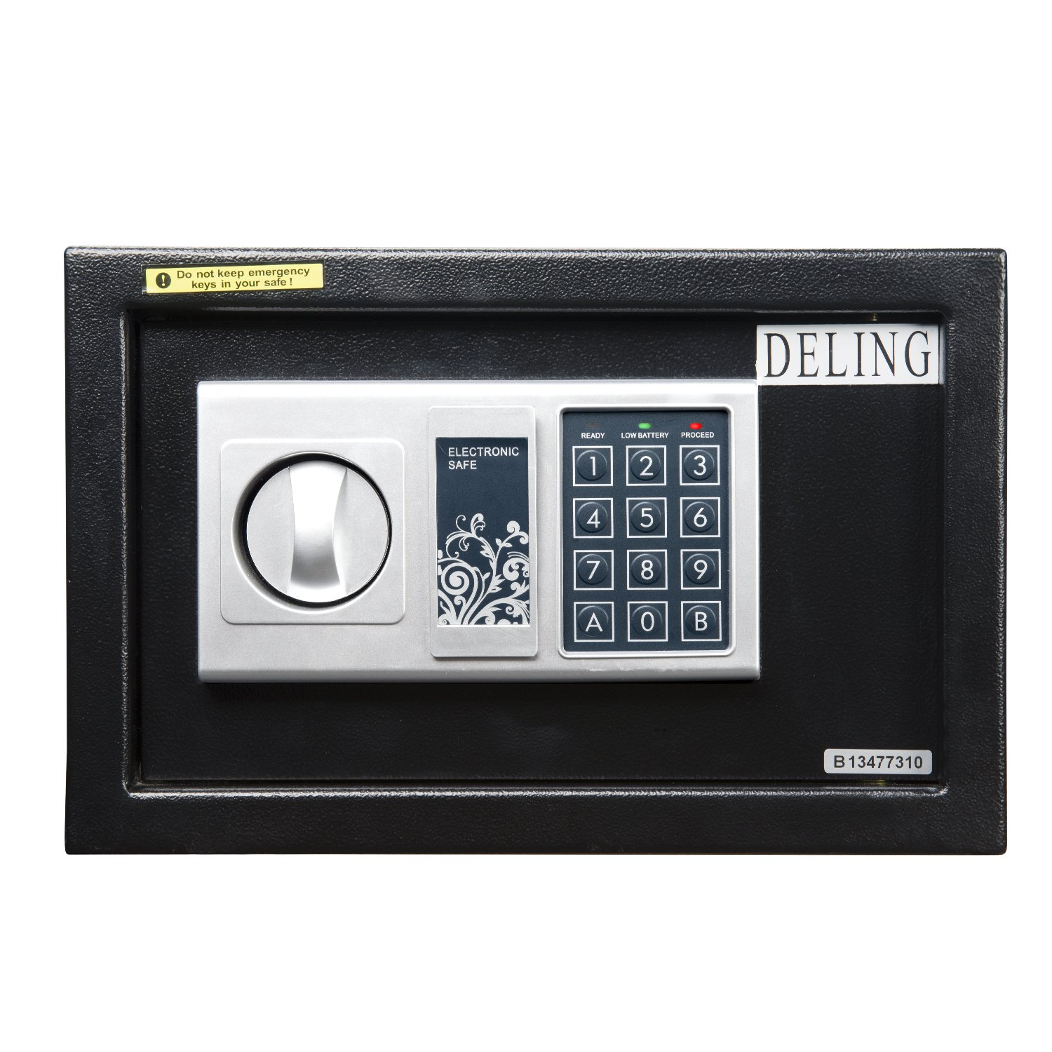 Ainfox Digital Electronic Security Safe Box, 0.37 Cubic Feet Mini Portable Digital Cabinet with Keypad Lock&Solid Steel Construction for Money Gun Jewelry (Black-20EN) by Ainfox (Image #1)