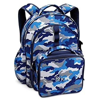 9e908dd6a3 Amazon.com   Blue Camo Personalized Backpack with Attached Lunch Bag by  Lillian Vernon   Baby