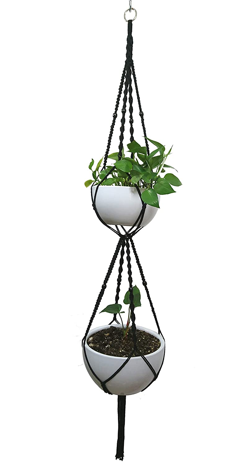 MCHANG Macrame Plant Hanger & Holder, Hanging Planter 4 Legs Double Deck For 8 inch to 10 inch Two Pots Indoor Outdoor Hanging Planter Hemp Rope 67 Inch with Metal ring (Cotton)