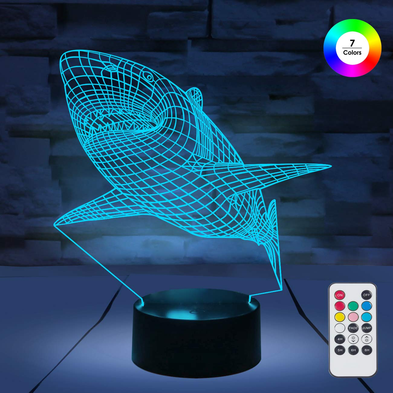 [ 7 Colors/3 Working Modes/Timer Function ] Remote and Touch Control Shark Night Lights, Dimmable LED Bedside Lamp for Children and Kid's Room