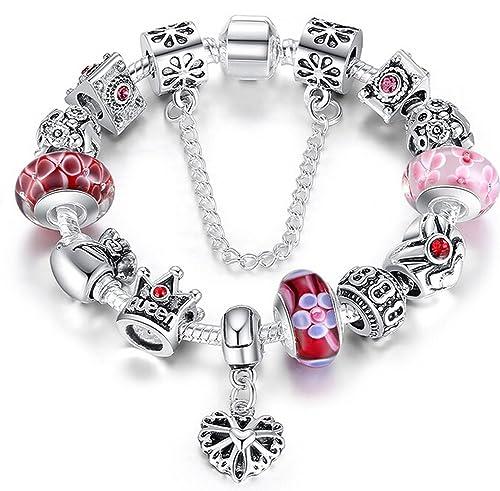 Braccialetto Pandora compatibile con perle in vetro di murano, cuore  ciondolo e catenina di sicurezza,20cm Amazon.it Gioielli