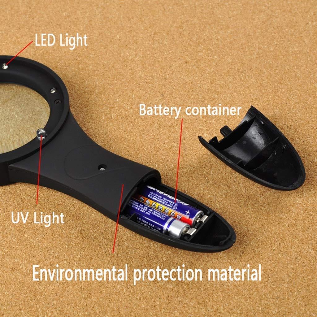 5X Handheld Illuminationslupe mit LED-Licht LED-Licht LED-Licht HD-Objektiv zum Lesen von Büchern Schmuck Identifikation Uhr DIY Handwerk Gravieren und Reparieren Schwarz Effektive 60mm ABS Lupe 27bb3b