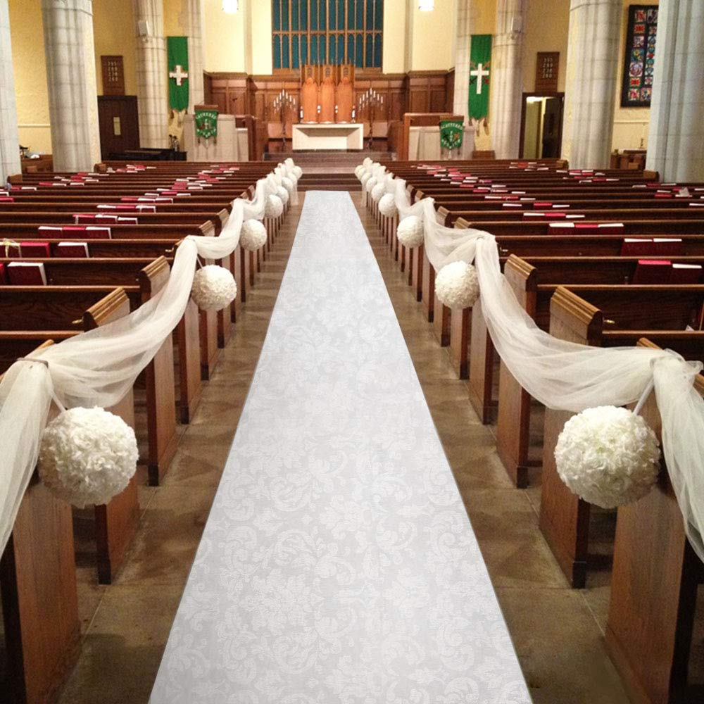 Healon Wedding Aisle Runner 100 x 3 ft White Aisle Runner with Print Aisle Runner for Wedding,Ceremony and Party with Pull String
