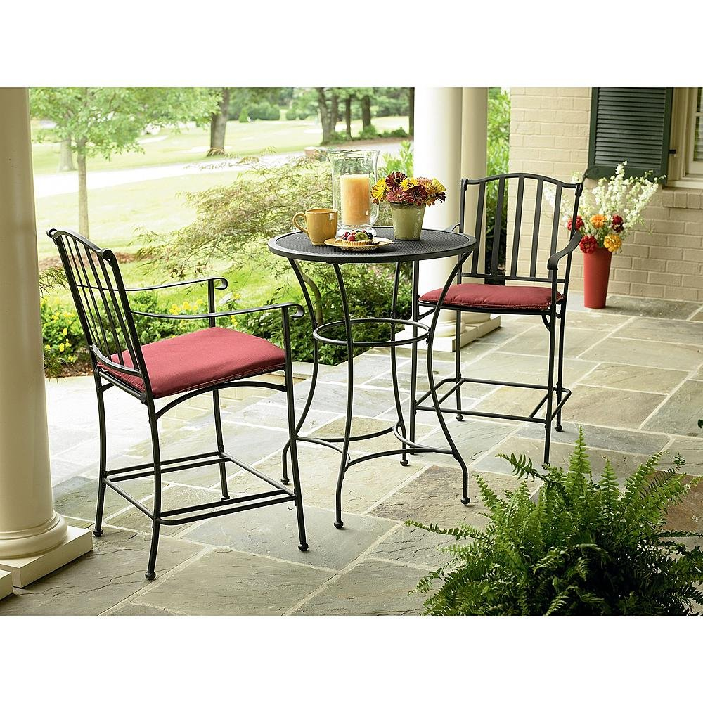 amazoncom wrought iron 3 pc bistro set table and two chairs with weather resistant red cushions outdoor patio furniture sets garden outdoor - Garden Furniture 3 Piece