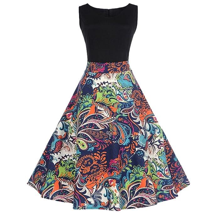 Feixiang Vestidos Largos Mujer Vestidos de Verano de Mujer Sexy Vestido de Fiesta de Noche Casual sin Mangas Floral Bodycon Vintage Falda: Amazon.es: Ropa y ...