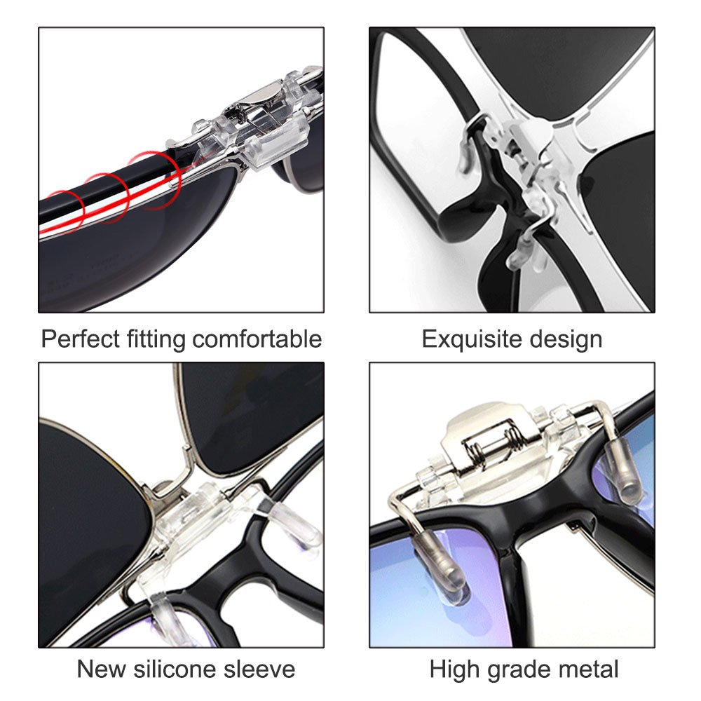 359ca2728d TERAISE Polarized Clip-on Sunglasses Flip up Function Suitable Driving  Sports (Black