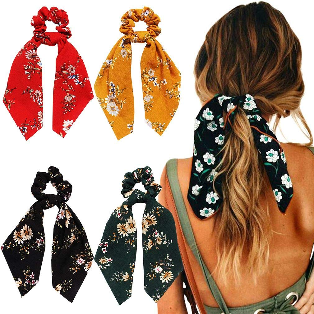 New Colorful Faux Silk Satin Scrunchie Elastic Hairbands Women Girls Rope H C4Q7