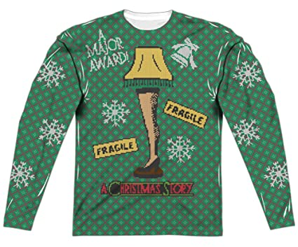 A Christmas Story Leg Lamp Faux Ugly Sweater (Front U0026 Back), White,