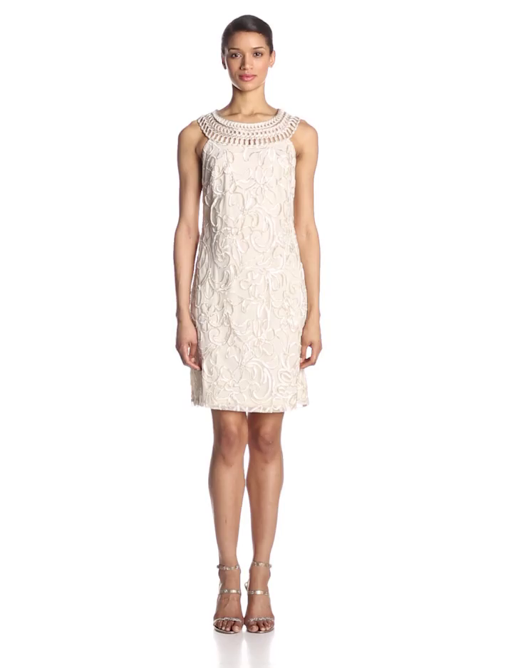 Jessica Howard Women's Petite Sleeveless Shift Dress with Embroidered Neckline