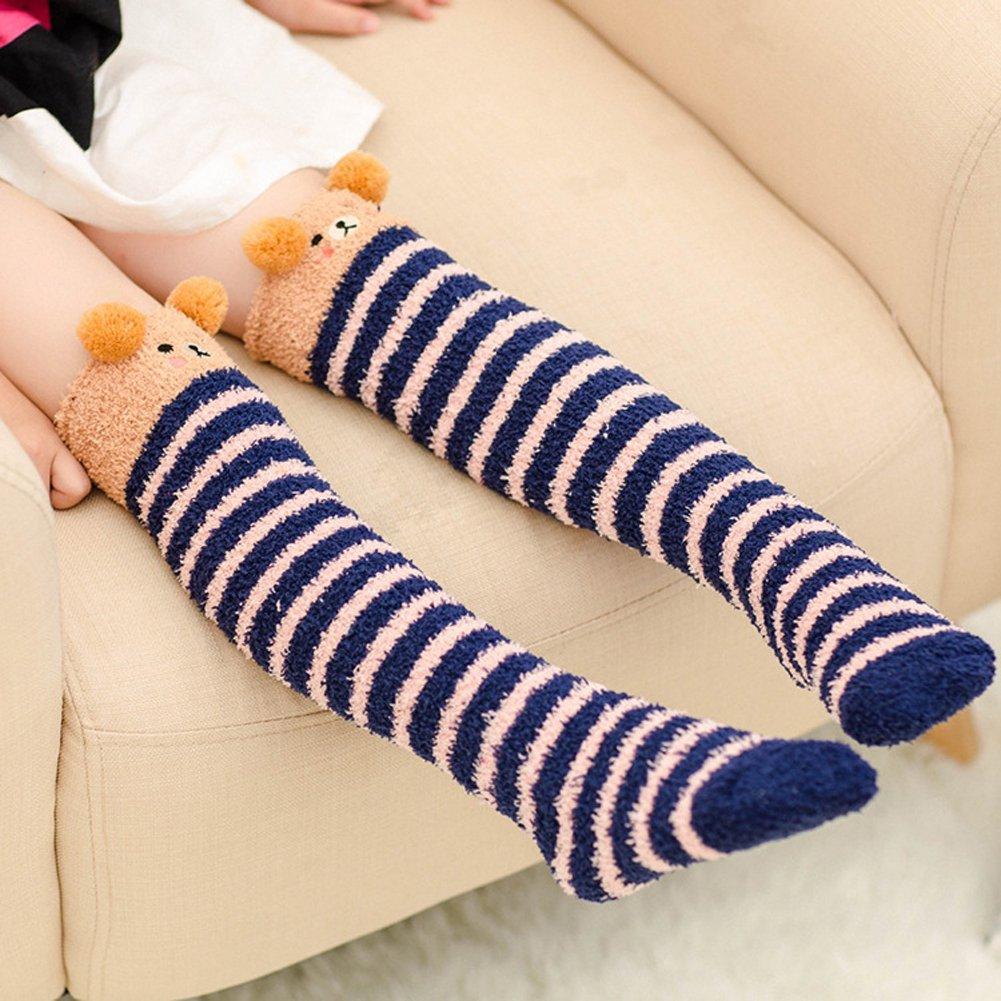 YallFairy 3 Pairs Girls Socks Fuzzy Knee High Stockings Animal Warm Cotton Christmas Socks