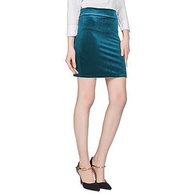 Urban CoCo Women's Elastic Waist Stretch Velvet Bodycon Pencil Skirt at Women's Clothing store