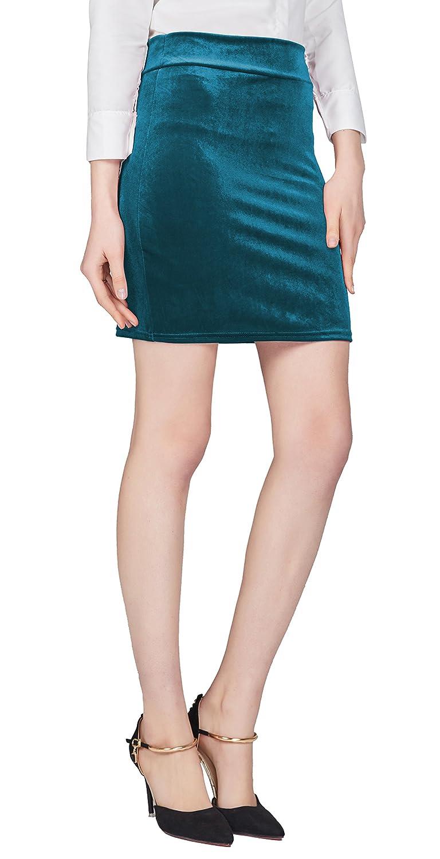 Urban CoCo Women's Elastic Waist Stretch Velvet Bodycon Pencil Skirt