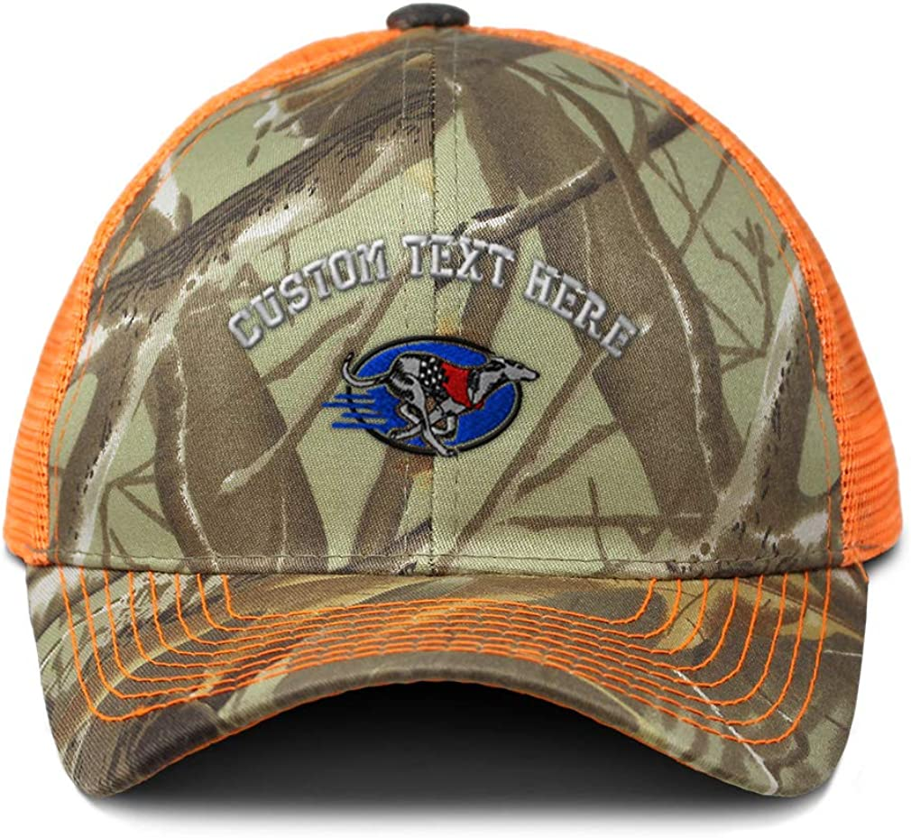 Custom Camo Mesh Trucker Hat Running Greyhound Embroidery Cotton One Size