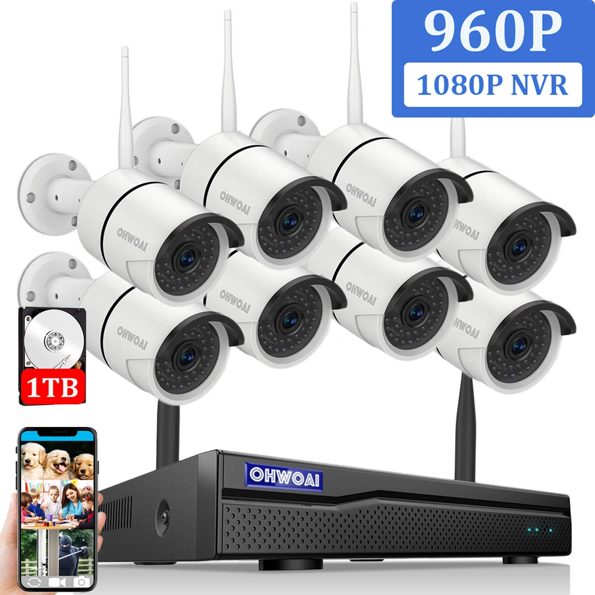 2019 Newest OHWOAI Security Camera System Wireless, 8CH 1080P NVR,8Pcs 960P HD Outdoor Indoor IP Cameras,Home CCTV Surveillance System 1TB Hard Drive Waterproof,Remote Access,Plug Play,Night Vision.