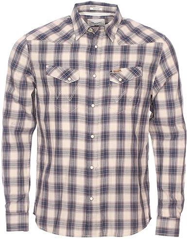 Wrangler L/S Heritage Western True Blue Camisa, Multicolor ...