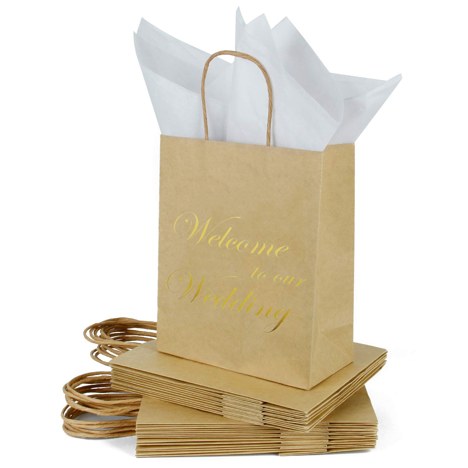 Loveinside Medium Kraft Gift Bags-Welcome to Our Wedding Gold Foil Brown Paper Gift Bag with Tissue Paper - Wedding,Party Favor,Bridesmaids Gift-12Pack -8'' X 4'' X 10''