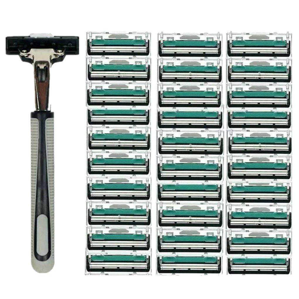 Fish Men Handle Shaving Razor Shaver Replaceable Straight Manual Razor Beard Trimmer with 30pcs Double Layers Razor Blades