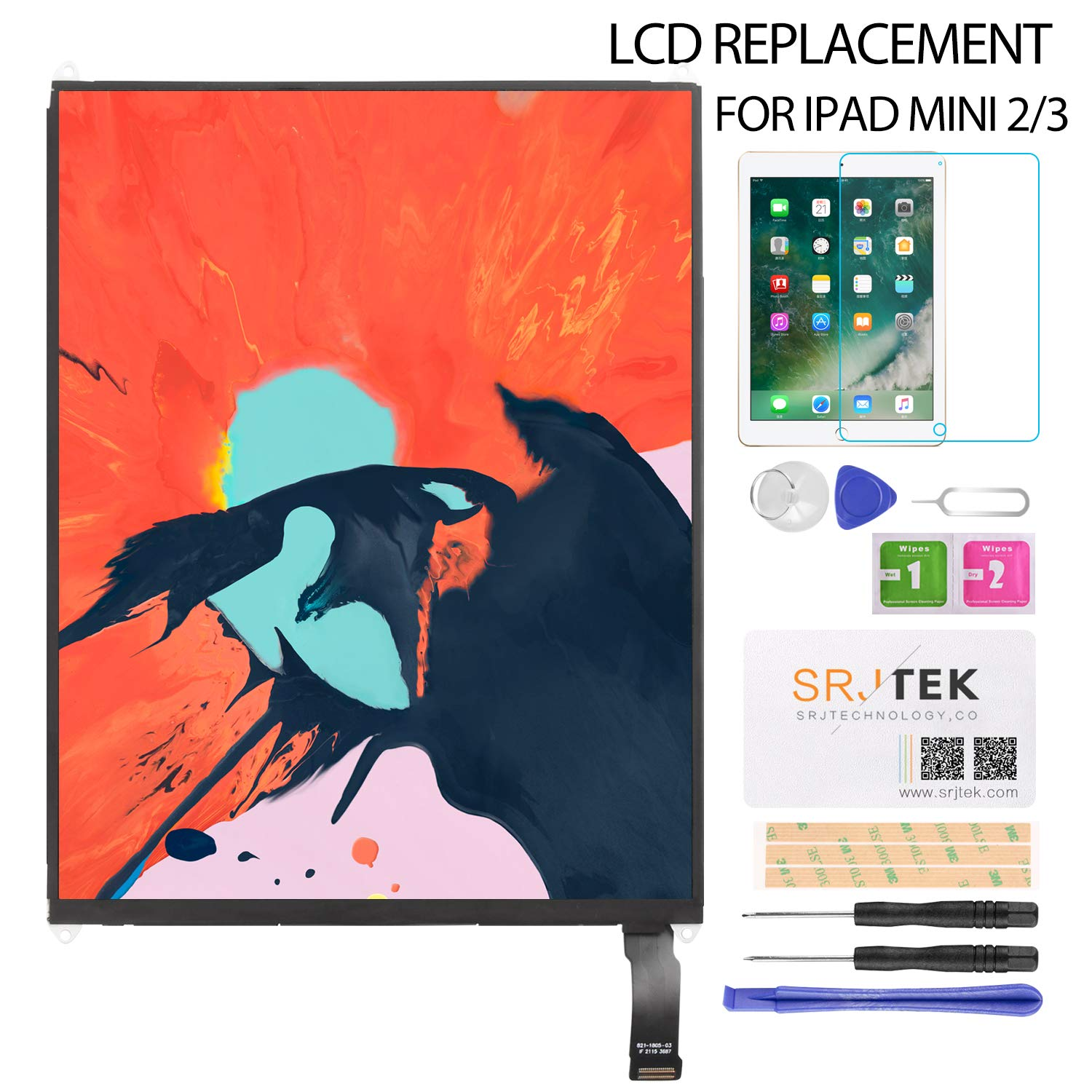 """LCD Display Screen Replacement, for iPad Mini 2 3 (7.9"""") nA1489 A1490 A1491 A1599 A1560 LCD Panel Repair Parts Kit,Include Tempered Glass,6 Month Warranty"""